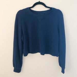 Brandy Melville Navy Waffle Knit Cropped Sweater
